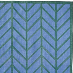 Serena & Lily - Feather Rug Corsica/Emerald - Taking its cue from traditional herringbone and chevron patterns, our original design is both graphic and organic, in emerald green on Corsica blue.