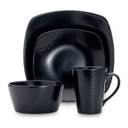 Noritake - Noritake Black-on-Black Dune Square 4-Piece Place Setting - This Noritake Black-on-Black dinnerware features organic motifs subtlety interpreted as a tone-on-tone surface decoration. Displays an allover black-on-black pattern of sinuous lines inspired by sand dunes at dark.