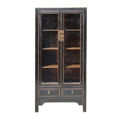 Golden Lotus - Chinese Solid Elm Wood Black Lacquer Glass Door Display Cabinet - You are looking at a simple and clean designed Chinese black lacquer glass door display cabinet. The shelves are removable for various storage purposes. This is a simple but elegant piece.