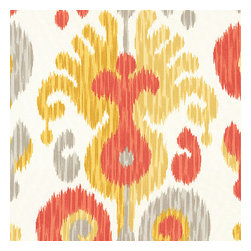 Orange Ikat Indoor Outdoor Fabric - Oversized outdoor ikat that will make a big (literally!) splash in clean, bright shades of coral red, orange, yellow & gray.Recover your chair. Upholster a wall. Create a framed piece of art. Sew your own home accent. Whatever your decorating project, Loom's gorgeous, designer fabrics by the yard are up to the challenge!