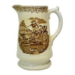 R C & Co on base for R Cochran & Co - Consigned Large Pottery Jug with Donkey Ride Decoration - Pottery jug with printed scenes of children riding a donkey cart, by R Cochran & Co of Glasgow, antique Scottish Victorian, mid 19th century.This is an antique One of a Kind item. Some wear and imperfections are to be expected, as described.
