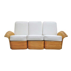 """Used Art Deco Rattan Fan Arm 3 Seat Sofa - A rare fan arm rattan sectional sofa with white vinyl covering, circa 1930. This sofa can be seen the living-room of  """"The Golden Girls"""" TV show, which ran from 1985-1992. Bragging rights!    All Rattan has been painstakingly refurbished using the finest materials by master craftsman under the supervision of Harvey Schwartz the leading expert and author of """"Rattan Tropical Comfort Throughout the House"""".    Courtesy of the seller, included with the purchase of this sofa is a dedicated autographed copy of Harvey Schwartz's book Rattan Furniture: Tropical Comfort Throughout the House, a $39.99 value. The hard bounded 160 page full color book details the fascinating History of Rattan with wonderful vintage and modern day photos of Tropical decors and Rattan; the book is great for any beginner wanting to learn as well as the top resource for dealers and designers alike.    Measurements: 31"""" tall X 79"""" wide X 36"""" deep"""