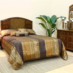 Hospitality Rattan - Polynesian 4 PC Twin Bedroom Set in Antique F - Choose Size: QueenBlending a natural weave with rattan caning, the Polynesian bedroom set is like a warm tropical breath of fresh air. The antique brown finish highlights each of its unique characteristics that give each piece personality. Headboard sizes are twin, queen and king. Include: Headboard - 6 Drawer Dresser - Nightstand - Mirror. Made of Wood Frame & Woven Wicker . Finished in Antique Color. Durable, yet elegant construction. Fully assembled. Tropical island style design. Mirror: 28 in. W x 2 in. L x 46 in. H (26 lbs.). Nightstand: 22 in. W x 20 in. L x 24 in. H (26 lbs.). 6 Drawer Dresser: 52 in. W x 20 in. L x 35 in. H (122 lbs.). Twin Headboard: 43 in. W x 2 in. L x 54 in. H (17 lbs.). Queen Headboard: 65 in. W x 2 in. L x 54 in. H (35 lbs.). King Headboard: 83 in. W x 2 in. L x 54 in. H (50 lbs.)This Polynesian bedroom collection is one of our fine rattan and bamboo sets. The great looking tropical wicker bedroom set. In addition metal glides are used on all the case good pieces. Glass is not included.