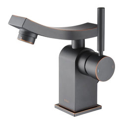 Kraus - Kraus Unicus Single Lever Basin Faucet Oil Rubbed Bronze - *One of a kind design, sleek lines in a bright polished chrome appearance brings an implied look to any bathroom decor