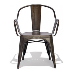 Industry West - Marais C Chair - The C chair is the vintage variation of the Marais A and AC Side Chair, featuring a wider stance and seat along with sloping arms. Originally found in the traditional bistros across France these chairs are now widely available in a variety of finishes and colors in the Unites States. Our C chairs are meticulously crafted from grade A steel and precision welded to ensure durability in the most rigorous workplaces. Slight abrasions and variations are characteristic of the chair's machine aesthetic. The Marais C Chairs are stackable up to 8-high and feature rubber feet for smooth gliding across all flooring surfaces. This vintage version of this classic profile is crafted of 8 MM double thick steel and weight rated for 340 Pounds.