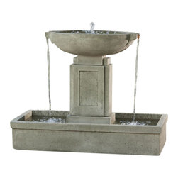 Campania - Austin Outdoor Water Fountain, Aged Limestone - Bring peace and tranquility to your outdoor space with the Austin Fountain from Campania