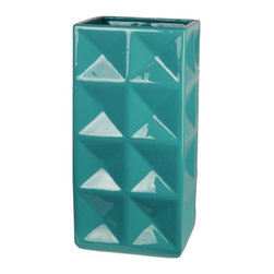 Privilege - Privilege Turquoise Ceramic Vase - Add a touch of sophistication to your home decor with this ceramic vase. This decorative accessory features a beautiful turquoise color and modern design.