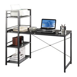 Techni Mobili - Techni Mobili Tempered Glass Laptop Desk in Black - Techni Mobili - Computer Desks - RTA7337GLS - For those looking for a space-saving solution to your home office woes the Techni Mobili Tempered Glass Computer Desk is the perfect choice. The modern design is constructed of durable powder coated. steel. With an attached versatile storage tower this desk is sure to fit all of your office essentials in one compact space.