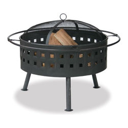 """Fire Features - The dancing firelight invites everyone to gather around this 24"""" Aged Bronze Firebowl. The deep bowl design lets you create large, long lasting fires. Kick back and prop your feet on the encircling foot rest. Attractive lattice motif adds a little something special to your outdoor living space."""