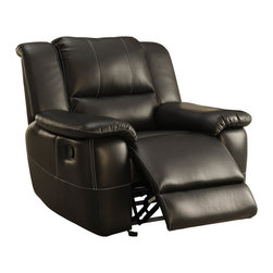 Homelegance - Homelegance Cantrell Glider Reclining Chair in Black Leather - Your casual living room deserves a bold look and the Cantrell collection will deliver. The black bonded leather match seating group features contrast stitching and manual pull reclining mechanism. Plush seating ensures comfort of your family and friends, as do the dual reclining seats of the love seat, end recliners of the sofa and chair.