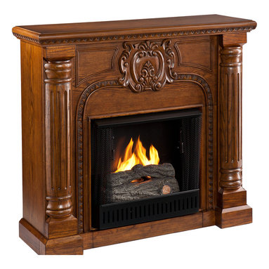 Holly & Martin - Carino Fireplace, Oak Finish, Gel - Hand-carved columns and a center medallion pair with a Salem antique oak finish in this electric fireplace that exudes character and style. To top it off, this fireplace requires no electrician or contractor for installation, allowing for instant remodeling without the usual mess or expenses.