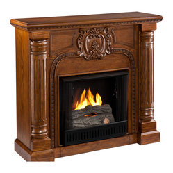 Carino Fireplace, Oak Finish, Gel
