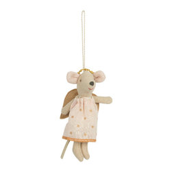 maileg - Baby Angel Mouse Ornament, Pink - This baby angel mouse is the cutest to decorate a room, a stroller, or your christmas tree!