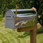 Woodward Locking Post Mount Stainless Steel Mailbox - Keep your mail secure with the locking door and incoming mail slot of the Woodward Locking Post Mount Stainless Steel Mailbox. This mailbox features a sleek design and Antique Copper and Brass accents.