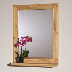 """24"""" Liani Bamboo Vanity Mirror - Perfect for a small bath or powder room, the 24"""" Liani Bamboo Vanity Mirror features an minimalist design that works in a variety of decors."""