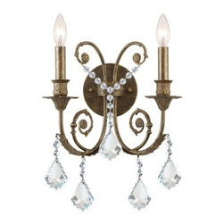 Crystorama Clear Swarovski Elements Crystal Wrought Iron Wall Sconce - 12.5W in. - About Crystorama, Inc.With more than 40 years of experience, Brooklyn-based Crystorama Lighting has a worldwide reputation for premium-quality products and professional service. This family-owned company was founded in 1958 by Abraham Kleinberg. Originally dedicated to importing Bohemian chandeliers, Crystorama now sources out the best quality crystal worldwide. These superior crystal, brass, and wrought iron chandeliers carry on a rich tradition of craftsmanship and authenticity.