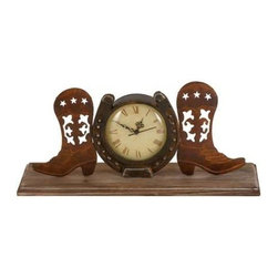 """Benzara - Boot Clock in Copper and Antique Shades with Unique Design - Boot Clock in Copper and Antique Shades with Unique Design. A blend of functionality and style, this metal Boot Clock in Copper and Antique Shades with Unique design is a perfect home accessory. It comes with a following dimensions 18""""W x 5.5""""D x 7""""H."""