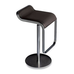 Fine Mod Imports - Lem Adjustable Backless Stool with Leather Se - Color: BlackGenuine leather seat. Swivel chair. Adjustable height from 27 to 31 in. . Made of polished stainless steel frame. 15 in. W x 30 in. D x 20 in. H (28 lbs.). Weight Limit: 300 lbs.