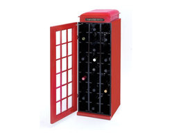 Benzara - Wood Wine Cabinet with A Dark Black Finish - If you are oenophile, this wine cabinet is sure to appeal to you! This exquisitely designed wine cabinet is shaped and colored to look like a lifelike phone booth. The outer swing-open door with its glass lattice design and the trademark red coloring and top of a phone booth make this wine cabinet a collector's dream. Inside this cabinet are nine horizontal racks for storing wine bottles. Each rack holds up to 3 wine bottles, meaning you can store up to 27 bottles at any moment. The racks feature precise cuts to hold medium to large size bottles and prevent them from rolling and clanking into each other. The wood used in this cabinet is of high quality and is durable too with a dark black finish. A chain at the top of the door prevents it from swinging wide open and banging into other items in your study or kitchen..