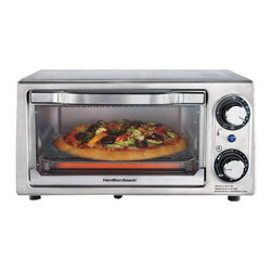 """HAMILTON BEACH BRANDS, INC. - Hamilton Beach Stainless Steel Four Slice Toaster Oven,7.8""""H x 15""""W X 11.89""""D,Ea - Hamilton Beach Stainless Steel Four Slice Toaster Oven saves time and energy by reheating 28% faster and using 80% less energy. It features a 30 minute timer with automatic shutoff and ready bell. Comes with bake, broil and toast settings and includes bake pan. It fits a nine inch pizza, four toast slices, two open face sandwiches, two pork chops or chicken nuggets and features adjustable temperature and nonslip feet."""