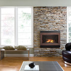 H4 Series Fireplace - H4 with Outer Square Surround (662SSV), Copper Inner Bezel (661BSC), Enamel Black Liner (618EBL) and ValorGuard Barrier Screen