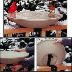 API 650 Heated Bird Bath with Mounting Bracket - Heated birdbath with railing mount for year-round bathing from API, Inc.