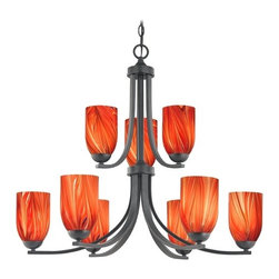 Design Classics Lighting - Modern Chandelier with Red Glass in Matte Black Finish - 586-07 GL1017D - Contemporary / modern matte black 9-light chandelier. Takes (9) 100-watt incandescent A19 bulb(s). Bulb(s) sold separately. UL listed. Dry location rated.