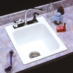 Mustee - Mustee Durastone 11 Single Basin Drop In Utility Sink - 11 - Shop for Commercial Laundry and Utility from Hayneedle.com! The Mustee Durastone 11 Single Basin Drop In Utility Sinkis called a drop-in because that's just about how easy it is to install. This large utility sink is perfect for the garage laundry room or anywhere else that may need a bit of cleaning versatility. The body of this 11-gallon capacity sink is crafted in metal molds using rugged fiberglass and special resins then it's given a stain-resistant color-fast finish in your choice of colors. Once you've got the right spot you just set it in place and connect it to a standard 1-1/2-inch P- or S-trap and you're ready to go. Well you also need to find a single- or double-handle faucet with a 4- or 8-inch center but that's about it and then it's time to get cleaning!About E.L. Mustee & SonsSide-arm water heaters hot plates and incinerators were all the rage when Emil Lawrence founded his innovative company back in 1932 and today E.L. Mustee & Sons keep that spirit of customer-satisfying innovation alive with their full line of products that stress functionality durability and dependability. The full line of E.L. Mustee & Sons products include DURAWALL shower and bathtub walls DURASTALL shower stalls TOPAZ bathtubs DURABASE shower floors STYLEMATE shower enclosures UTILATUB and UTILATWIN laundry tubs DURATUB laundry cabinets VECTOR and DURASTONE utility sinks DURASTONE mop service basins DURAPAN washer and water heater pans; and CareGiver easy-access showers safety grab bars and fold-down shower seats. The team at E.L. Mustee & Sons goes to great lengths to make sure that each product that leaves their U.S.-based production facility is the kind of long-lasting product that you'll use often.