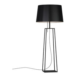 Carpyen - Carpyen | Tiffany 1 Floor Lamp - Made by Carpyen. The Tiffany 1 Floor Lamp features a simple yet timeless form highlighted by its metal base and cotton drum shade.  Made from metal with either a black or white finish, the structure of this modern floor lamp features four columns attached at both ends to solid, flat squares creating an open, geometrical shape. Supported by the structure is a cotton, drum shade that houses the two incandescent light sources and a pull switch to turn the light on and off. When illuminated, this modern floor lamp produces diffused, ambient illumination ideal for use in bedrooms, offices, and living room spaces.