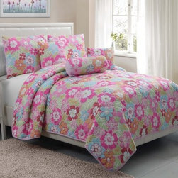 Victoria Classics Cali Collection Quilt Set - With its sassy pink and blue flower pattern, the Victoria Classics Cali Collection Quilt Set adds a cute and cozy look to your bedroom. This quilt set includes a cozy quilt, pillow shams, and even decorative pillows. It's made of polyester, is machine-washable in cold on gentle, and comes in your choice of size.