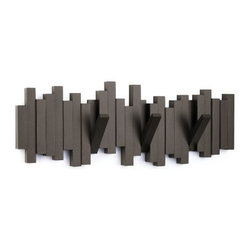 Umbra - Umbra Sticks Wall-mount Rack With Five Hooks, Espresso - Both sculptural and useful, the Sticks wall-mount multi-hook by Umbra features five sturdy hooks that flip up when not in use, blending seamlessly and transforming this functional piece into a pleasing wall decor element. Molded wood construction. Concealed mounting hardware included.