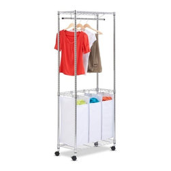 "Urban Laundry Center- Chrome Rolling - Honey-Can-Do SRT-01154 Chrome Rolling Urban Laundry Center., White/Chrome. An all-in-one solution for any laundry area, this rolling laundry center is the perfect tool for sorting, washing, and hanging. The unit has three, full-size sorting bags which can be easily removed for washing or to transport laundry. The sturdy garment rack is made from a chrome-finished, steel frame and goes from room to room on smooth rolling swivel casters, which lock in place. The hanging bar stretches an ample 30"" wide and is perfect for hanging items to dry or after ironing. This unit is topped off with a steel wire shelf great for temporary storage of lightweight folded items."