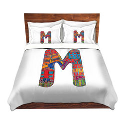 DiaNoche Designs - Duvet Cover Microfiber King from DiaNoche Designs by Dora Ficher - Letter M - DiaNoche Designs works with artists from around the world to bring unique, artistic products to decorate all aspects of your home.  Super lightweight and extremely soft Premium Microfiber Duvet Cover (only) in sizes Twin, Queen, King.  Shams NOT included.  This duvet is designed to wash upon arrival for maximum softness.   Each duvet starts by looming the fabric and cutting to the size ordered.  The Image is printed and your Duvet Cover is meticulously sewn together with ties in each corner and a hidden zip closure.  All in the USA!!  Poly microfiber top and underside.  Dye Sublimation printing permanently adheres the ink to the material for long life and durability.  Machine Washable cold with light detergent and dry on low.  Product may vary slightly from image.  Shams not included.