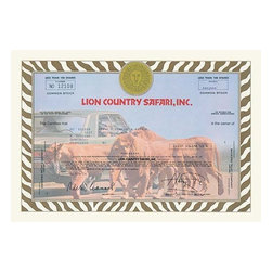 "Buyenlarge.com, Inc. - Lion Country Safari, Inc.- Gallery Wrapped Canvas Art 12"" x 18"" - Stock certificates are like currency, sharing value and beauty on the face.  This cancelled certificate captures a moment in history as technology advances and big business moves forward."