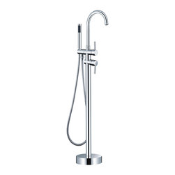 HelixBath - HelixBath LaCascata Gooseneck Freestanding Modern Tub Faucet, Chrome with Hand S - Transforming your bathroom into a relaxing spa begins with exceptional accessories. La Cascata effortlessly embodies old world craftsmanship in a modern wrapper. Helix Bath freestanding La Cascata features a solid brass forged body, finished in chrome. This elegant design utilizes complimenting cylindrical shapes for the body, the water control, the shower handset and even the base. An opposite facing single lever style handle and diverter provide for simple operation and a refined appearance.