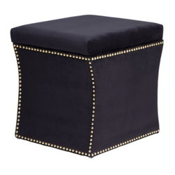 Z Gallerie - Storage Ottoman - Black - You will not want to hide this storage piece in the corner. Sharp and shapely lines highlight its modern hourglass figure, allowing our Storage Ottoman to stand alone as an attractive accent piece. Upholstered in black velvet with polished gold nail heads that will give any room a modern and sophisticated touch. Most importantly, our Storage Ottoman distinctly functions to conceal blankets, laundry or any items that may hamper the charm of your home.