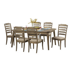 Homelegance - Homelegance Geranium Dining Table in Driftwood - Compatible in a number of dining room settings, the transitional styling of the Geranium Collection will provide your family and friends with the platform from which many meals will be shared. Offered in a trend forward driftwood finish, the table is flanked by horizontal slat chairs with neutral tone fabric seats.