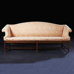 American Chippendale Camel Back Sofa - An unusual American Chippendale Camel back Settee with molded legs and inlaid cross banding and stretchers.