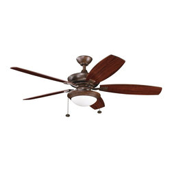 """BUILDER FANS - BUILDER FANS Canfield Select Unipack 52"""" Transitional Ceiling Fan X-ZT610003 - Thanks to the unique tones of the various finishes, this Kichler Lighting ceiling fan features a blend of contemporary and traditional influencing. From the Canfield Select Collection, the Tannery Bronze finish and reversible teak/cherry fan blades are complimented by the clean look of the white opal cased interior and clear exterior of the glass shade."""