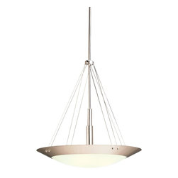 """Kichler - Contemporary Contemporary Brushed Nickel Three Light Pendant Chandelier - Contemporary three light pendant from Kichler. Features a perforated brushed nickel glare shield and satin-etched white glass. Takes three 100 watt bulbs (not included). 24"""" wide. 25"""" high.  Brushed nickel finish.  Satin-etched glass.  A Kichler pendant chandelier design.  Takes three 100 watt bulbs (not included).  24"""" wide.  25"""" high.  Includes two 12"""" rods and two 6"""" rods."""