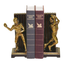 Sterling Industries - Sterling Industries Pair Vintage Touchdown Bookends X-8059-39 - This Sterling Industries bookend set from the Vintage Touchdown Collection is a perfect addition to any sports lover's home. The golden bronze tones accentuate the statues, which are done in two different poises for added interest. They have been set against a black backdrop and feature cast-style detailing that is sure to please.
