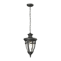 Elk Lighting - Anise Collection 1 light outdoor pendant in Textured Matte Black - Classically inspired, the Anise collection has a solid cast aluminum construction with clear seedy glass and a Textured Matte Black finish. The end of the arm has a soft petal floral design while a draping detail around the glass adds a traditional flair.