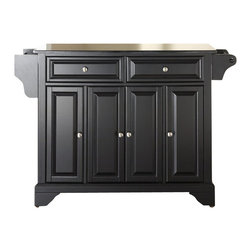 Crosley Furniture - Crosley Furniture LaFayette Solid Black Granite Top Kitchen Island in Black - Crosley Furniture - Kitchen Carts - KF30004BBK - Constructed of solid hardwood and wood veneers this kitchen island is designed for longevity. The beautiful raised panel doors and drawer fronts provide the ultimate in style to dress up your kitchen. Two deep drawers are great for anything from utensils to storage containers. Behind the four doors you will find adjustable shelves and an abundance of storage space for things that you prefer to be out of sight. Style function and quality make this mobile kitchen cart a wise addition to your home.
