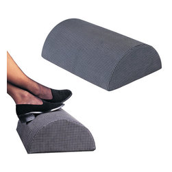 "Safco - Remedease Foot Cushions (Qty.5) - Black - This ingenious half-cylinder design allows a multitude of foot positions to ensure total comfort in any seated position. Hypo-allergenic medical-grade foam distributes weight evenly. Nylon cover with non-slip tread is removable and machine washable.; Features: Material: Nylon, Foam; Color: Black; Finished Product Weight: 2 lbs.; Assembly Required: No; Limited Lifetime Warranty; Dimensions: 18""W x 12""D x 6""H"