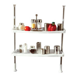 Above Edge 2 Shelf Adjustable Spice Rack, Towel Holder - 2 shelves for all your spices and kitchen items