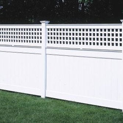 4 ft Universal with Lattice Topper - Add charm to your 4' Universal fence with an airy lattice topper and New England caps. Crafted in hollow vinyl.