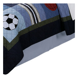 Pem America - All State Full Bed Skirt 14In. Drop - All State 100% cotton quilted bedding uses current colors and natural cotton face and filling material for a long lasting and comfortable bed.  No sport is left out on this great bedding pattern with footballs, soccer balls and baseballs that are hand pieced and embroidered.  The deep navy blue, khaki and sage green highlights make decorating with this bed easy.  All State boys bedding is completely accessorized to help you complete that perfect sport themed bedroom. Full bed skirt fits mattresses 54x75 inches with 14 inch drop in solid light blue. 100% microfiber polyester drop. Machine washable.