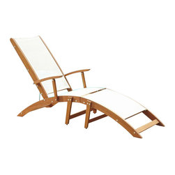 Home Styles - Home Styles Bali Hai Outdoor Chaise Lounge Chair in Natural Teak - Home Styles - Patio Lounges - 566083 - Create an island oasis on your porch or patio with a Home Styles Bali Hai 2-Piece Chaise Lounge Chair.  Showcasing an island inspired design in a versatile natural teak finish and construction of eco-friendly plantation grown Shorea wood with white PVC coated poly sling this chaise is designed to provide endless hours of outdoor entertainment use.  Shorea wood is known for its exceptional durability and natural resistance to water. This chair features a curved seat and three-position adjustable back that can be fully-reclined partially-reclined or fully-upright.  This chair is built with stainless steel hardware.  Seat height measures 12.5 inches high.  Size: 23.75w 78.5d 37h