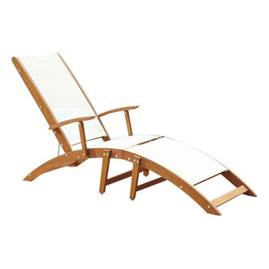 Home Styles - Home Styles Bali Hai Outdoor Chaise Lounge Chair in Natural Teak - Home Styles - Patio Lounges - 566083 - Create an island oasis on your porch or patio with a Home Styles Bali Hai 2-Piece Chaise Lounge Chair. Showcasing an island inspired design in a versatile natural teak finish and construction of eco-friendly, plantation grown Shorea wood with white PVC coated poly sling, this chaise is designed to provide endless hours of outdoor entertainment use. Shorea wood is known for its exceptional durability and natural resistance to water. This chair features a curved seat and three-position adjustable back that can be fully-reclined, partially-reclined, or fully-upright. This chair is built with stainless steel hardware. Seat height measures 12.5 inches high. Size: 23.75w 78.5d 37h.