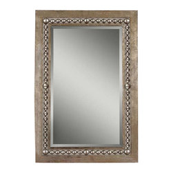 """Uttermost Fidda Antique Silver Mirror - Antiqued silver leaf with black undertones. Frame is made of hand forged metal finished in antiqued silver leaf with black undertones. Features an open design around the bead details to allow wall color to show thru. Mirror has a generous 1 1/4"""" bevel. May be hung horizontal or vertical."""